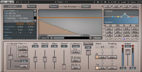 Waves IR1 Convolution Reverb Parametric Convolution Reverb Plugin IR1SG