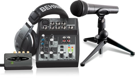 Behringer PODCASTUDIO USB Podcasting Bundle with USB Audio Interface, Mixer, Microphone and Headphones PODCASTSTUDIO-USB