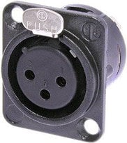 Neutrik NC3FD-L-B-1 3-Pin XLR-F Panel Connector in Black with Solder Cups and Gold Contacts NC3FDL-B-1