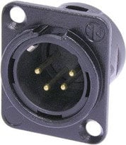 Neutrik NC4MDL-B-1 4-pin Male XLR Panel Connector, Black, Gold Contacts NC4MDL-B-1