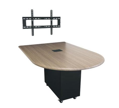 Middle Atlantic Products HUBTS-84BULLET-H 7' x 4' HUB Table System with Bullet Shaped Top, HPL HUBTS-84BULLET-H