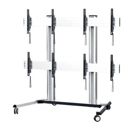 Middle Atlantic Products DS-600-2X2C-AL  DisplayStation Cart with Wall, 600VESA, 2X2 and Casters, ALU DS-600-2X2C-AL