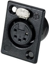 Neutrik NC5FP-B-1 5-Pin XLR female panel connector rectangular, black with gold contacts NC5FP-B-1