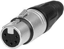 Neutrik NC5FX 5-pin Female XLR Cable Connector, Nickel NC5FX