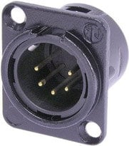 Neutrik NC5MDL-B-1 5-pin Male XLR Panel Receptacle, Black, Gold Contacts NC5MDL-B-1