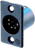 Neutrik NC5MP-B 5-Pin XLR Male Rectangular Panel Connector, Black, Gold Contacts NC5MP-B