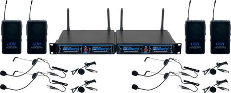 VocoPro UDH-PLAY 4 Four Channel UHF/DSP Hybrid Bodypack Wireless Microphone Package UDH-PLAY-4