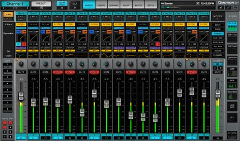 Waves eMotion LV1 32 D 32 Channel Live Mixer with Full eMO D5 Dynamics EMOTION-LV1-32-D
