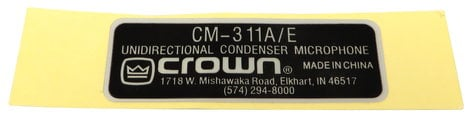Crown 125112-1 Label for EQM311 used with CM311 125112-1