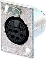 Neutrik NC6FP-1 6-Pin Female XLR Rectangular Panel Connector, Nickel NC6FP-1