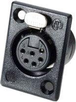 Neutrik NC6FP B 1 6-Pin XLR female panel connector rectangular, Black with Gold contacts NC6FP-B-1
