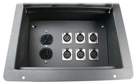 Elite Core Audio FBL6+AC Recessed Floor Box With 6 XLRF + Duplex AC with Back Box FBL6+AC