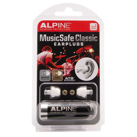 Alpine Hearing Protection MusicSafe Classic Professional Earplugs for Musicians, Single Pair MUSIC-SAFE-CLASSIC