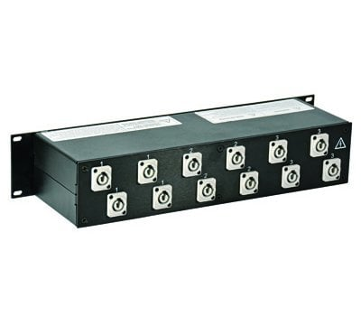 Lex Products Corp PRM2IN-1CC12GN 2RU Rack Mount Power Distribution Module, L21-30 In/Thru to powerCON PRM2IN-1CC12GN