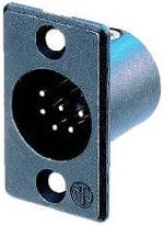 Neutrik NC6MP B 6-Pin XLR Male Rectangular Panel Connector, Black, Gold Contacts NC6MP-B