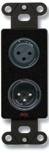 Radio Design Labs DB-XLR2 XLR 3-Pin Female and 3-Pin Male on D Plate, Solder Type, Black DB-XLR2