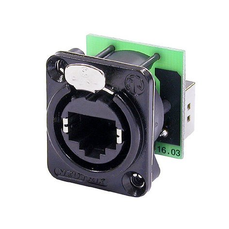 Neutrik NE8FDP-B RJ45 Ethernet Female Panel Connector, Black NE8FDP-B