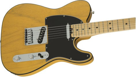 Fender American Elite Telecaster Single Cutaway SS Electric Guitar in Butterscotch Blonde Finish with Ash Body and Maple Fingerboard TELE-AMELITE-M-A