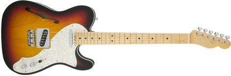 Fender American Elite Telecaster Thinline Electric Guitar, Semi-Hollow, 22-Fret TELE-AMELT-THIN-MPL