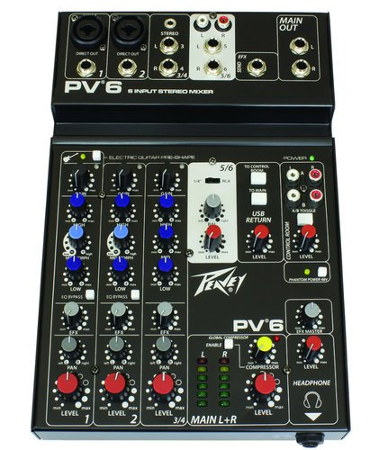 Peavey 03612570 PV 6 6-Input Stereo Mixer 03612570