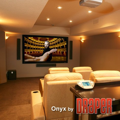 """Draper Shade and Screen Onyx 123"""" Projection Screen 65"""" x 104"""" Fixed Screen 253880"""