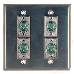 RapcoHorizon Music DBA-4DFN Anodized Double Gang Wall Plate in Black with 4 Neutrik NC3FD-L-1 Connectors DBA-4DFN