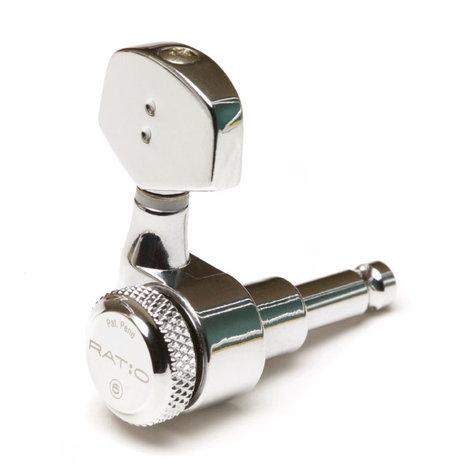 Graph Tech PRL-8311-C0  Ratio Locking Tuned Machine Heads - Electric 3+3 Contemporary Chrome 2 Pin PRL-8311-C0
