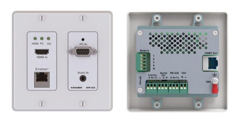 Kramer WP-20  Active 2-Gang Wall Plate with Audio, Ethernet, HDMI, RS-232 Connectors WP-20