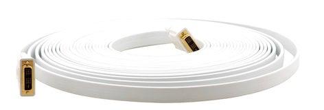 Kramer C-DM/DM/FLAT(W) DVI (M)-DVI (M) Flat White Cable, 3 ft C-DM/DM-FLAT(W)-3