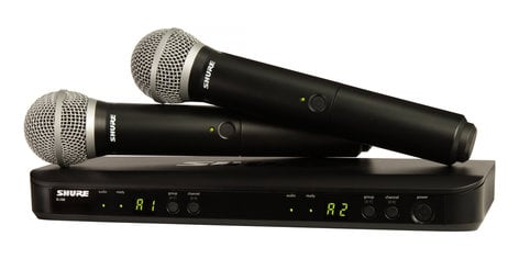 Shure BLX288/PG58-H10 Dual Channel Handheld Wireless System With Two PG58 Handheld Microphones BLX288/PG58-H10