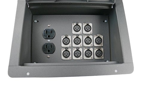 Elite Core Audio FBL10+AC  Recessed Floor Box With 10 XLRF And Duplex AC With Back Box FBL10+AC