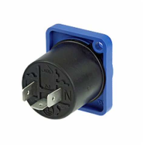 Neutrik NAC3MPA-1-WOT PowerCON Panel-Mount Receptacle Input without Insulation Divider, Blue NAC3MPA-1-WOT