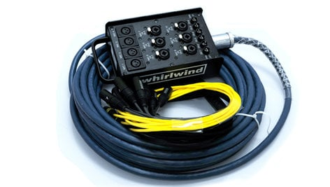 Whirlwind Medusa MultiSnake10 10 Channel Drop Snake with 4 Mic Lines and 6 Mic/DI Lines, Black MLTSN10X6-50-BLACK