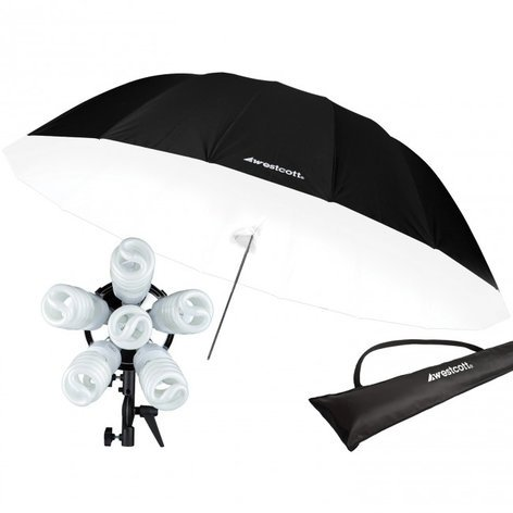 Westcott Spiderlite TD6 7' Parabolic Umbrella with Diffusion Panel Kit 1211C