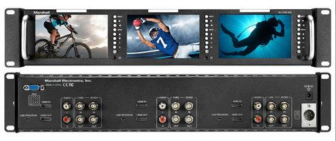 "Marshall Electronics M-Lynx-503  Triple 5"" Rackmountable Monitor With HDMI, 3G-SDI And Composite Inputs M-Lynx-503"