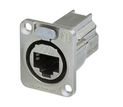 Neutrik NE8FDX-P6 CAT6A Shielded Panel Connector with Nickel Housing NE8FDX-P6