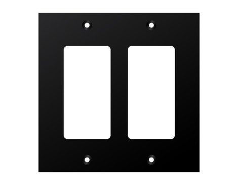 Ace Backstage Co. WP-207 Two Decora Cutouts Black Double Gang Wall Plate WP207