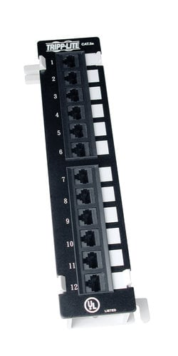 Tripp Lite Wall-Mount Cat5e Patch Panel with 12 Cat5e Rated Jacks N050-012