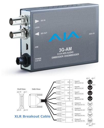 AJA Video Systems Inc 3G-AM-XLR 3G-SDI 8-Channel AES Embedder/Disembedder with XLR Breakout Cable 3G-AM-XLR
