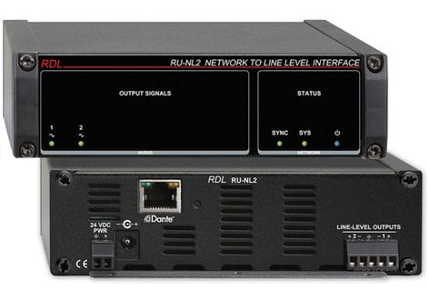 Radio Design Labs RU-NL2  Network to Line Level Interface, Dante Input, 2 Balanced Outputs RU-NL2