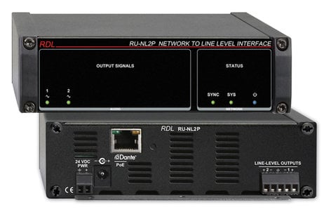 Radio Design Labs RU-NL2P  Network To Line Level Interface, Dante Input, 2 Balanced Out With PoE RU-NL2P