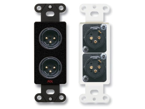 Radio Design Labs DB-XLR2M  Decora Wall Plate with Dual Solder-Type 3-Pin XLR-M Jacks, Black DB-XLR2M