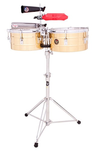 "Latin Percussion LP Tito Puente 12"" & 13"" Timbales Solid Brass Timbales, 6-1/2"" Deep LP255-B"