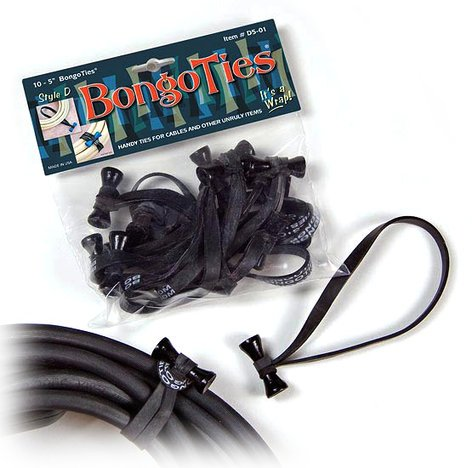 """Bongo Ties D5-01 Style-D """"Obsidian"""" Bongo Ties 10-Pack D5-01-K"""