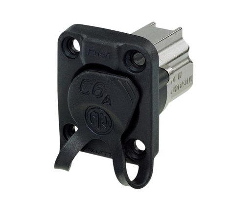 Neutrik NE8FDX-P6-W CAT6A Shielded Panel Connector with Rubber Sealing Cap and Nickel Housing NE8FDX-P6-W