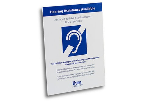 Listen Technologies LA-303 Multi-Lingual Assistive Listening Notification Sign  LA303