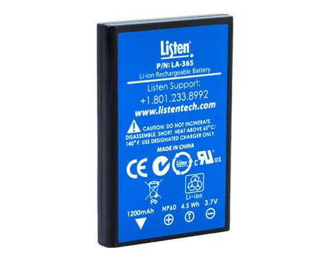 Listen Technologies LA-365  Replacement Rechargeable Li-Ion Battery for iDSP Receivers LA-365