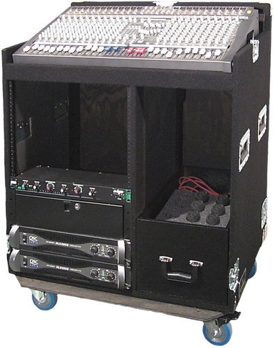 """Grundorf Corp COMBO-S16C  Mixer/Rack Combo Case with 16RU Rack and 4"""" Casters in Black Carpet Finish COMBO-S16C"""
