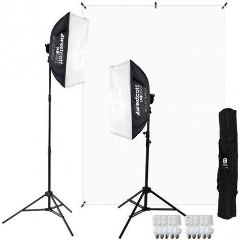 Westcott 484 D5 2-Light Video Blogging Kit with X-Drop Stand and White Backdrop 484-WESTCOTT