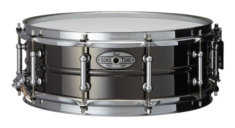"""Pearl Drums Sensitone 14""""x5"""" Snare Drum, Beaded Black/Brass STA1450BR"""